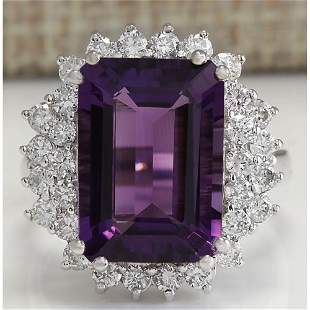 7.75 CTW Natural Amethyst And Diamond Ring In 14K Solid