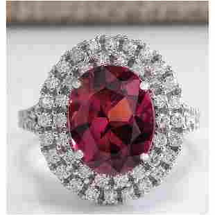 4.47 CTW Natural Pink Tourmaline And Diamond Ring 18K