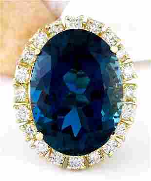 21.44 CTW Natural Topaz 18K Solid Yellow Gold Diamond
