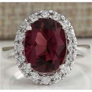 4.29 CTW Natural Pink Tourmaline And Diamond Ring 18K