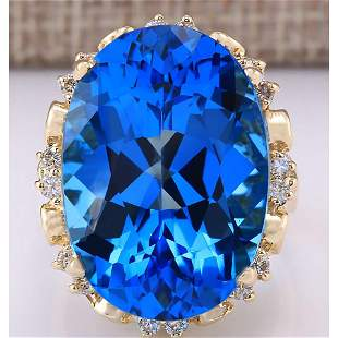 30.50 CTW Natural Topaz And Diamond Ring In 18K Yellow