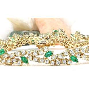 8.00 CTW Natural Emerald 14K Solid Yellow Gold Diamond