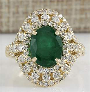 5.02 CTW Natural Emerald And Diamond Ring 18K Solid
