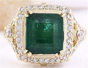 6.10 CTW Natural Emerald 14K Solid Yellow Gold Diamond