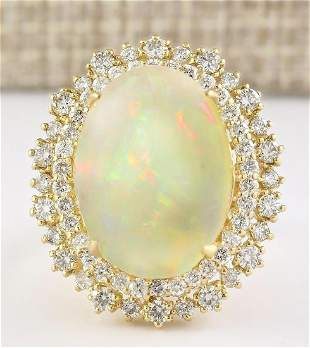 9.91 CTW Natural Opal And Diamond Ring In 14k Yellow