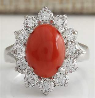 4.81 CTW Natural Red Coral And Diamond Ring In 18K