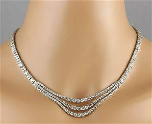 24.00 CTW Natural Diamond Necklace 14k Solid White Gold