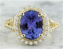 195 CTW Tanzanite 14K Yellow Gold Diamond Ring