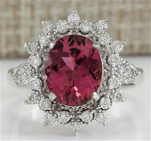 5.43 CTW Natural Pink Tourmaline And Diamond Ring 18K