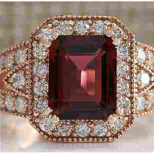 3.89 CTW Natural Pink Tourmaline And Diamond Ring 18K