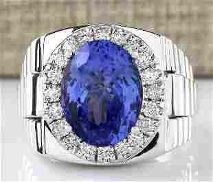 9.44 CTW Natural Mens Tanzanite And Diamond Ring 14k