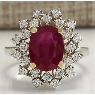 3.91 CTW Natural African Ruby And Diamond Ring 18K