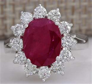 4.03 CTW Natural Red Ruby Diamond Ring 14K Solid White