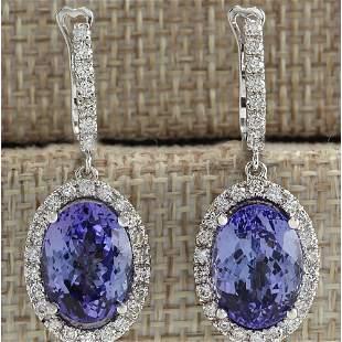 12.15 CTW Natural Tanzanite And Diamond Earrings 14K