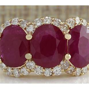 6.31 CTW Natural Red Ruby And Diamond Ring 14K Solid