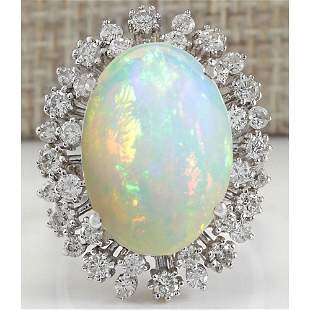 11.10 CTW Natural Opal And Diamond Ring 14K Solid White