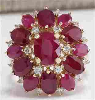 7.72 CTW Natural Red Ruby And Diamond Ring 14K Solid