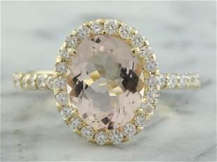 3.01 CTW Morganite 18K yellow Gold Diamond Ring