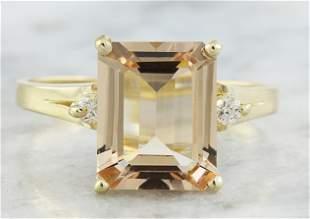 2.26 CTW Morganite 18K Yellow Gold Diamond Ring