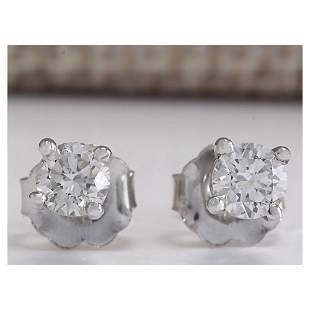 0.45CTW Natural Diamond Earrings 14K Solid White Gold
