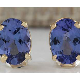 2.00 CTW Natural Blue Tanzanite Earrings In 18K Yellow