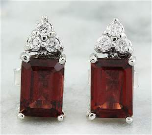 2.65 CTW Garnet 18K White Gold Diamond Earrings