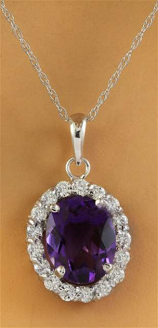 2.00 CTW Amethyst 14K White Gold Diamond Necklace