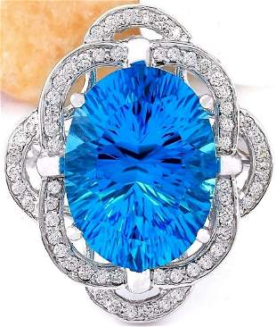 12.00 CTW Natural Topaz 14K Solid White Gold Diamond