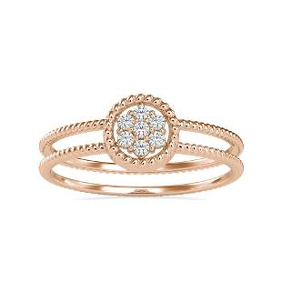 0.09CT Natural Diamond 14K Rose Gold Ring