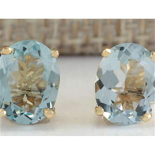 3.00 CTW Natural Blue Aquamarine Earrings In 14K Yellow