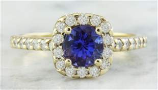 1.55 CTW Tanzanite 18K Yellow Gold Diamond Ring