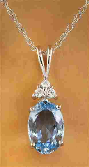 1.51 CTW Aquamarine 18K White Gold Diamond Necklace