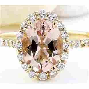 2.28 CTW Natural Morganite 14K Solid Yellow Gold