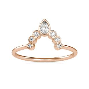 0.16CT Natural Diamond 14K Rose Gold Ring