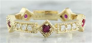 0.43 CTW Ruby 18K Yellow Gold Diamond Ring
