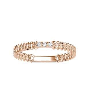 0.04CT Natural Diamond 14K Rose Gold Ring