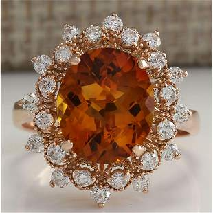 4.85 CTW Natural Madeira Citrine And Diamond Ring 14K