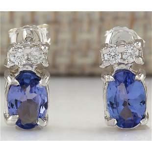 1.72 CTW Natural Tanzanite And Diamond Earrings 14K