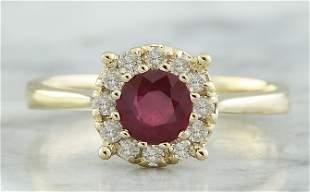 0.72 CTW Ruby 18K Yellow Gold Diamond Ring