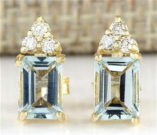 2.65 CTW Natural Aquamarine And Diamond Earrings 18K