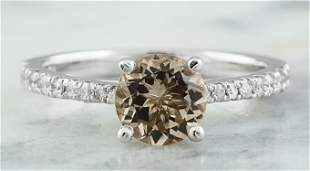 1.30 CTW Morganite 14K White Gold Diamond Ring