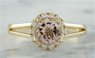 1.24 CTW Morganite 18K Yellow Gold Diamond Ring