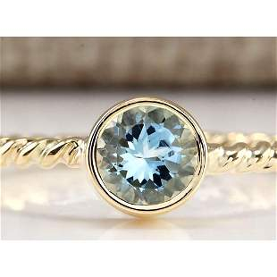 1.00 CTW Natural Aquamarine Ring In 18K Yellow Gold