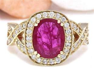 2.85 CTW Natural Ruby 14K Solid Yellow Gold Diamond