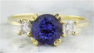 1.93 CTW Tanzanite 14K Yellow Gold Diamond Ring
