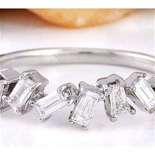 0.70 CTW Natural Diamond 18K Solid White Gold Ring