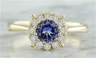 0.72 CTW Tanzanite 14K Yellow Gold Diamond ring