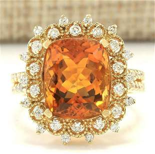 6.39 CTW Natural Madeira Citrine And Diamond Ring 14k
