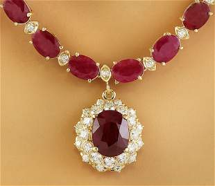44.60 CTW Ruby 14K Yellow Gold Diamond necklace