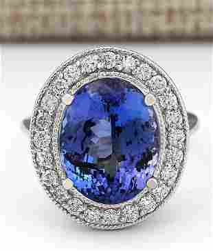 10.11 CTW Natural Blue Tanzanite And Diamond Ring In